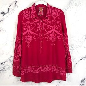 Johnny Was silk eyelet Embroidered Blouse Sz XS